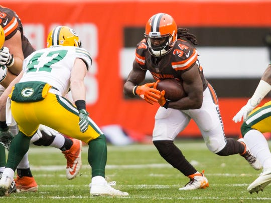 Isaiah Crowell rushed for 3,118 yards on 737 attempts (4.2 yards per carry) and 21 TDs in four seasons with the Browns.