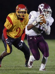 During his Concord High days in 2014, Brycen Alleyne steps in front of Glasgow receiver Jay Whalen and intercepts a pass before taking it the distance for a touchdown.