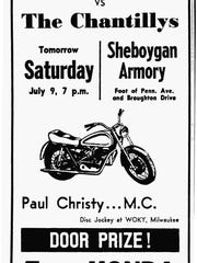 Sheboygan Press July 1966 ad for an Armory Dance featuring a duel between the Chantillys and The Fabulous Marquis.