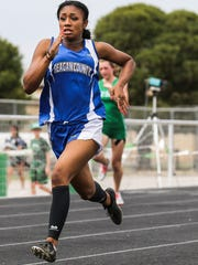 Reagan County's Jayslynn Reyes races in the 200 meters during the District 4-3A Track and Field Championships Friday, April 6, 2018, at Wall High School.