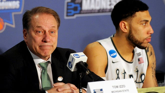 Michigan State Head coach Tom Izzo  reacts while answering a question during the post game press conference after Middle Tennessee upset the Spartans 90-81 Friday, March 18, 2016 at the Scottrade Center in St. Louis.