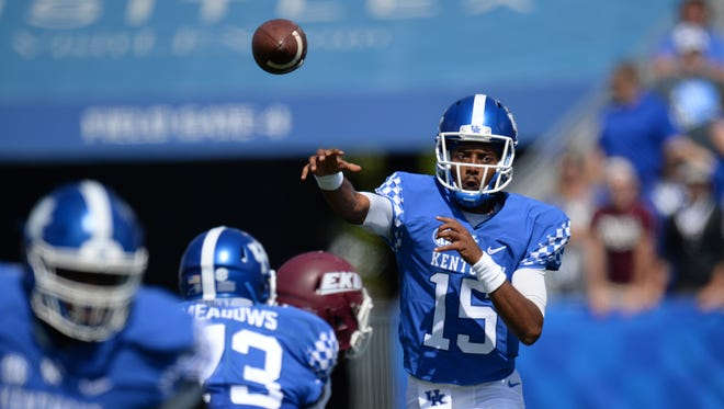 UK QB Stephen Johnson passes during the University of Kentucky football game against Eastern Kentucky University in Lexington, KY on Saturday, September 9, 2017.