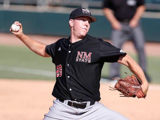 New Mexico State's Dalton Shalberg pitches against