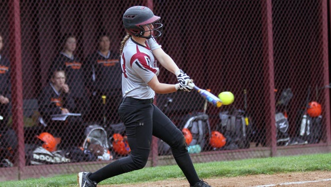 Ryleigh Hancock connects with the ball for Elmira on Thursday during the Express' 8-1 victory over Union-Endicott at Ernie Davis Academy.