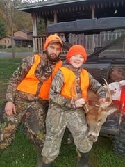 Kaden White took this 9 point buck on opening afternoon with his step dad Jake Harkins.
