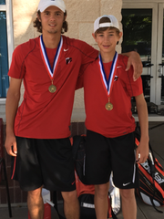 Old High's Mitchell Norrie and Preston Stephan won the District 5-5A boys doubles title Tuesday.