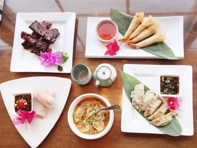 Summer Rolls, bottom left, Spicy Tangy Dumplings, Taipei Potstickers, Crispy Skin Shrimp Rolls, Sweet Soy Glazed BBQ Spare Ribs