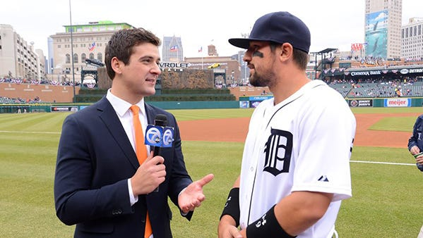 Brad Galli of WXYZ-TV interviews Tigers third baseman Nick Castellanos.
