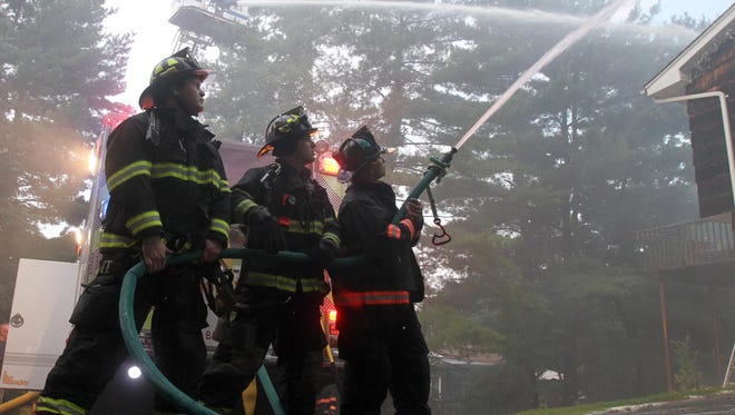 A 3-alarm fire destroyed an Irvington home that was for sale at 6 Mohegan Lane early Sunday morning July 17, 2016. Several surrounding departments assisted Irvington at the scene.