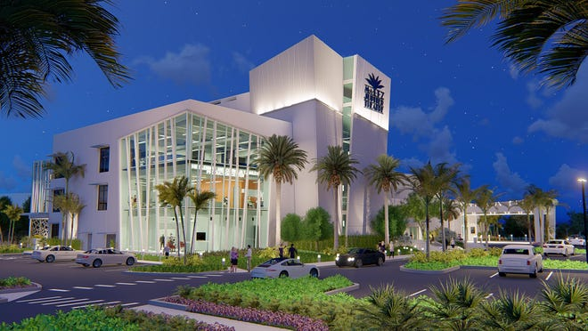 A rendering shows the planned appearance of the Maltz Jupiter Theatre upon completion of its renovation process.