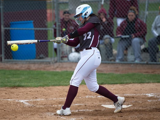 Shippensburg's Sami Barmont (22) bats during a softball