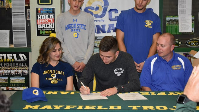 Mayfield kicker Caleb Conaway signed with Angelo State this week.