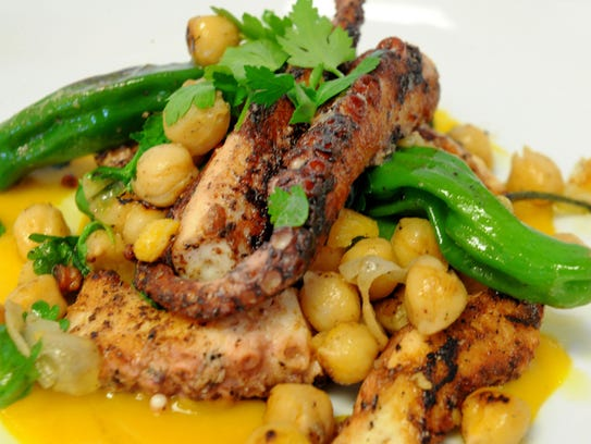 Sauteed Spanish Octopus is served at the Moody Rooster