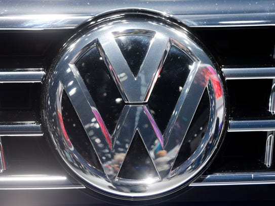 The VW Logo is photographed at a car  at the Car Show