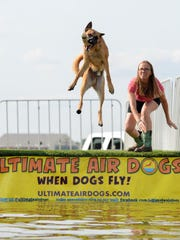 Cathi Wilcox of Ultimate Air Dogs throws a toy for