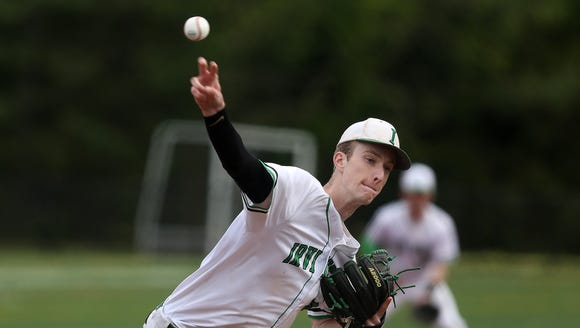 Irvington's Jake Weintraub pitching against Alberts