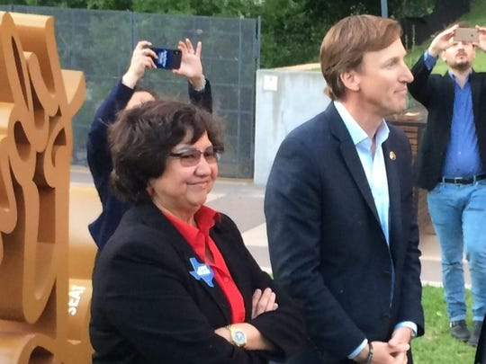 Lupe Valdez and Andrew White at a Texas Democratic Party event in Austin on April 14, 2018.