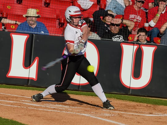 Shelley Landry at bat for the Cajuns. Beautiful weather out at Lamson Field as the Cajuns take on Texas Tech. Feb 25, 2016.
