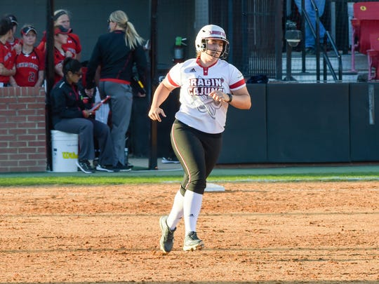 Lexie Elkins rounds second base after hitting a solo home run. Beautiful weather out at Lamson Field as the Cajuns take on Texas Tech. Feb 25, 2016.