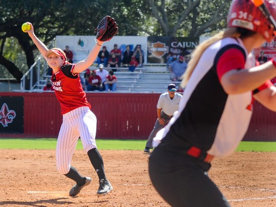 Starting pitcher Macey Smith pitched a shutout for the win as The Cajun take on Rutgers at Lamson Park. Feb 27, 2016