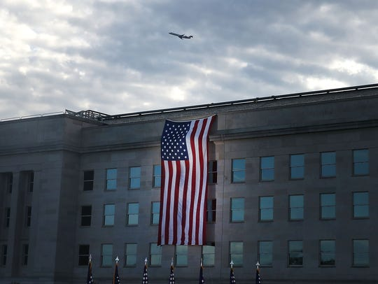 A flag draped over the Pentagon.