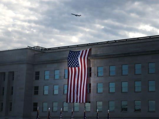 A flag draped over the Pentagon.
