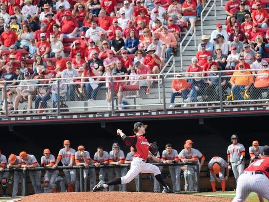 Pitcher Wyatt Marks throws against Sam Houston State