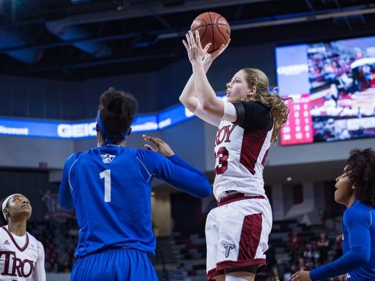 Troy's Kristen Emerson takes a jumper against Georgia