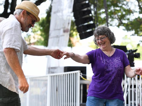 "Ken and Kathie Zeiders from Harrisburg, Penn., dance to the music from Waylon Thibodeaux at the W.C. Handy Blues and Barbecue Festival ""Zydeco Night"" Thursday, June 15, 2017."