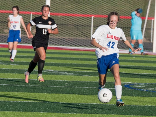 Zane Trace's Haynna Addy dribbles around midfield during an early season contest against Waverly in Kinnikinnick in 2016. She scored 11 goals and earned All-District honorable mention her freshman year.