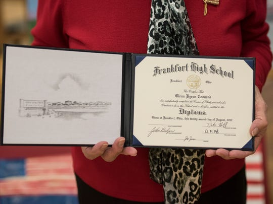 Adena Local Schools held its annual Veterans Day assembly on November 8, 2017, to honor veterans and their families with a high-energy performance by the Paint Valley ROTC and a special diploma given to US Navy Man Glenn Coonrod that was received by his sister Kathleen Goldsberry.
