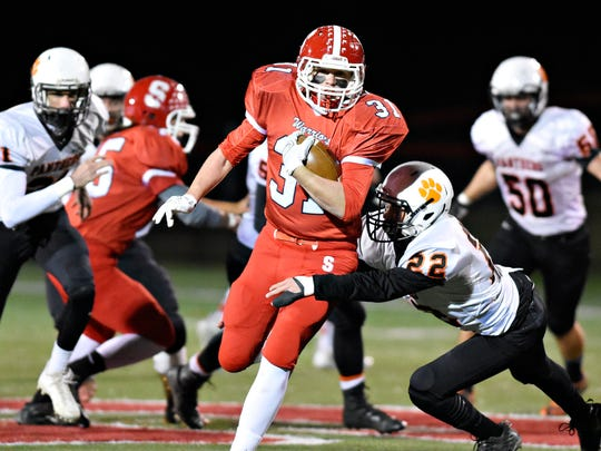 Susquehannock's Daniel Clapp, seen here in a file photo, rushed for 244 yards on Friday against Hanover. DISPATCH FILE PHOTO
