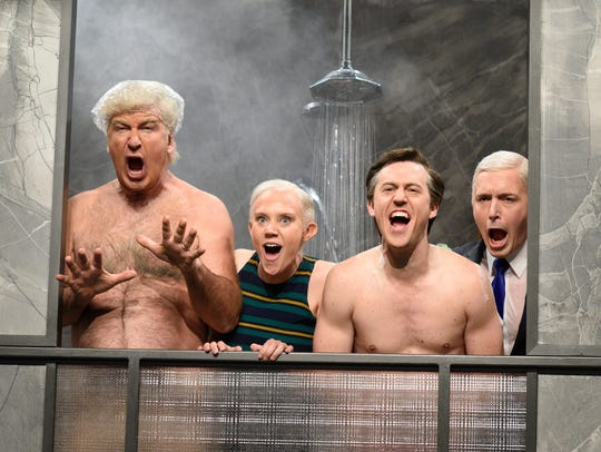 Alec Baldwin as President Donald Trump, Kate McKinnon as Attorney General Jeff Sessions and Alex Moffat as Paul Manafort, Beck Bennett as Mike Pence during 'Manafort's House Cold Open'.