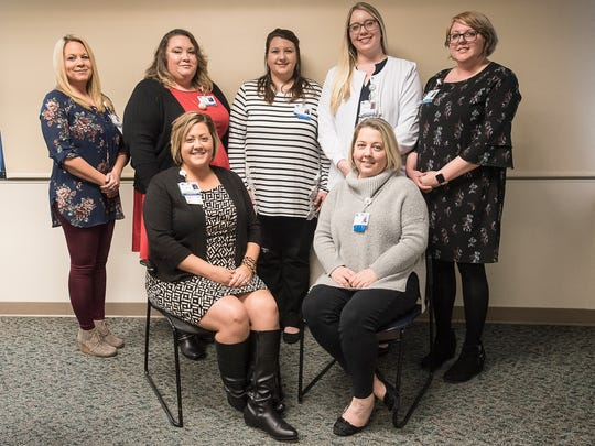 Members of the Adena Medical Center's Sexual Assault Survivor Advocate Program: First row from left, Nicole Bullock and Lori Johnson; Second row from left, Cassidy Simmons, Heather Welshimer, Andrea Howard, Andrea Crace, and Brittany Knox.