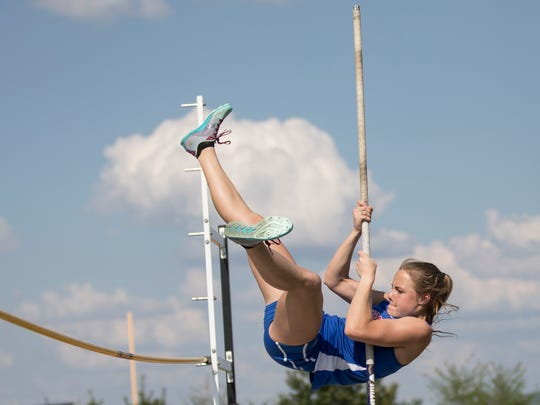Zane Trace's Abbey Mohan takes first place in the girl's pole vault at the 2018 SVC Track and Field Championships with a height of 7-06.