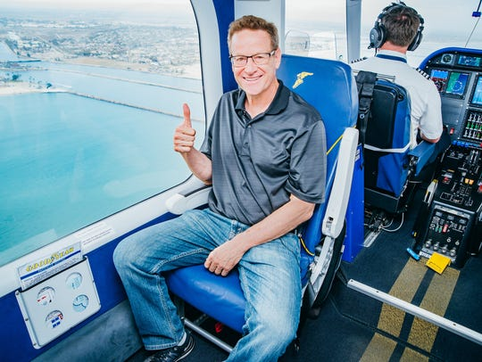Webb Weiman, of La Quinta, founded the nonprofit My Jump, which grants bucket list wishes by seniors. My Jump arranged for Anita Saavedra-Durnil, a Yucca Valley resident, to realize her lifelong dream of a ride on the Goodyear Blimp on July 9, 2018.