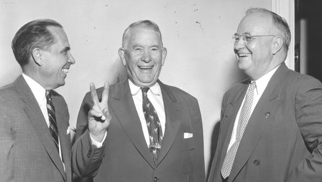 Alben Barkley, pictured here in a 1954 Courier-Journal photo at the opening of state Democratic campaign headquarters, died a death most politicians can only dream of.