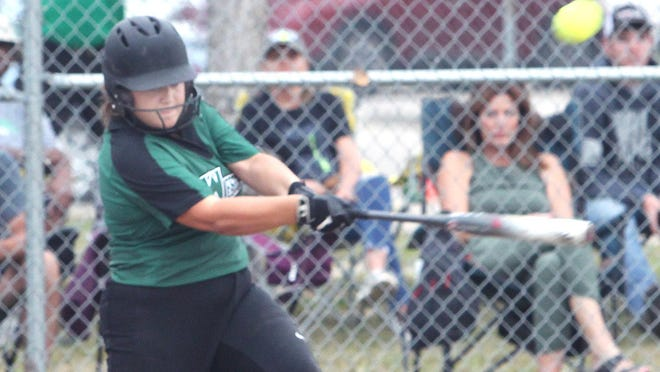 Westran High School junior Maddy Harvey takes a swing to put the softball in play during a home game played this 2020 season. Harvey hit a double Monday and was the winning pitcher in the Lady Hornets 21-1 win against Sturgeon.
