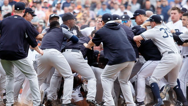 Words were exchanged between Detroit's Miguel Cabrera and Yankees' Austin Romine that led to the first of several fights between the two teams on Thursday afternoon.
