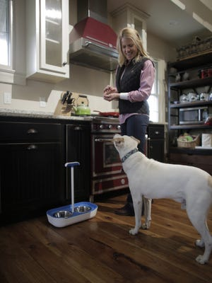 ReachaBowl makes feeding your pet less painful because you don't have to bend over.
