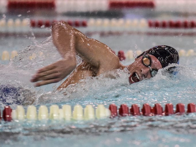 Centerville's John Neely swims the freestyle during