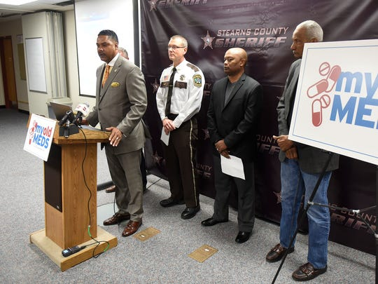 St. Cloud Police Chief Blair Anderson speaks during a press conference Thursday, Nov. 17, to announce the launch of a public awareness campaign on the proper disposal and storage methods for prescription drugs.