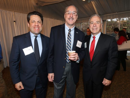 Alan Zakin, l, Joe Carotenuto and Paul Boudreau at the inaugural NJ State-of-the-State Manufacturing event attended by New Jersey's leading manufacturing business executives and elected state officials at the  Park Avenue Club in Florham Park.  March 31, 2017,  Florham Park, NJ
