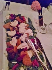 Burrata and heirloom beet salad.
