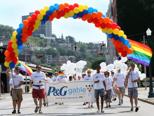 Participants from P&G Gable march in the Cincinnati