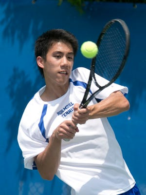 NJSIAA boys tennis Group 2 semi finals at Mercer County park. Harrison Lin plays 2nd singles for Holmdel. Holmdel beat Haddonfield 4-1 —May 25, 2016 -West Windsor, NJ.-Staff photographer/Bob Bielk/Asbury Park Press