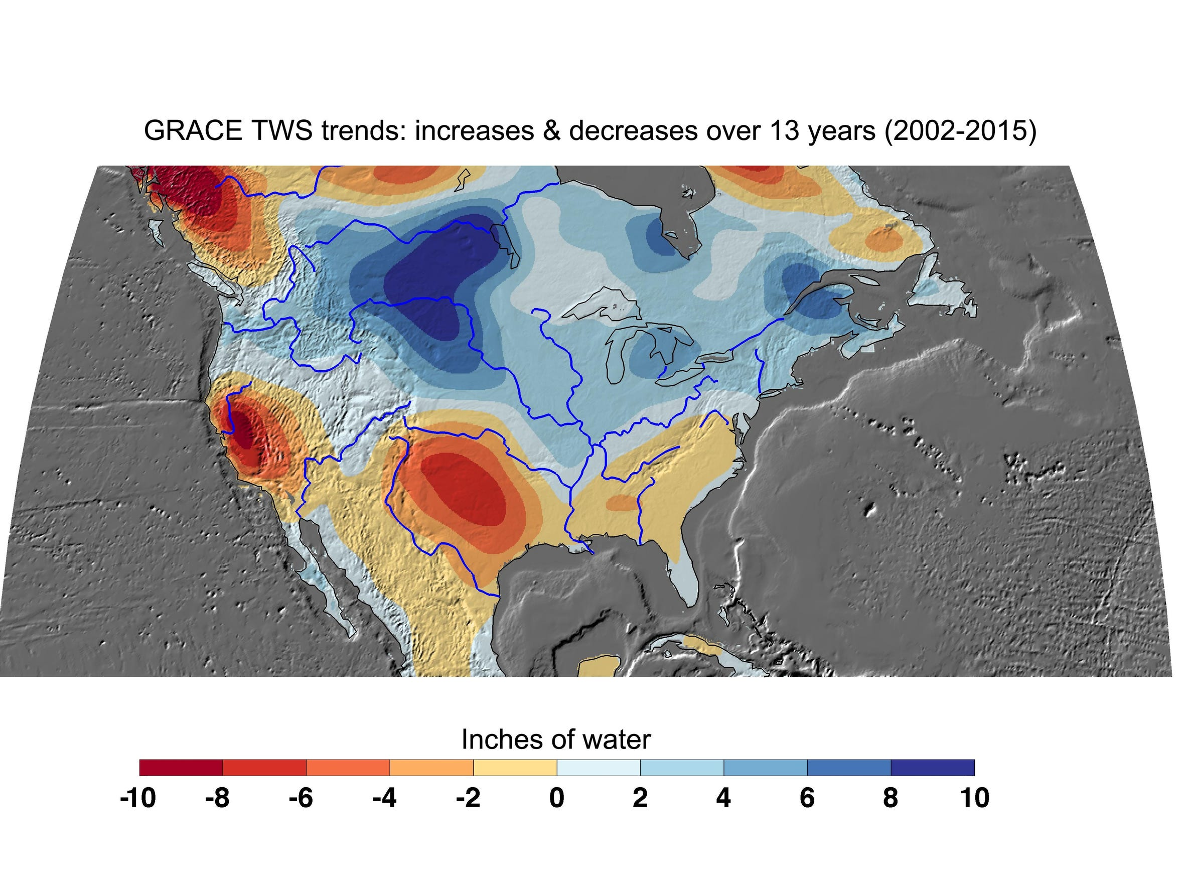 NASA's GRACE satellites have measured losses of freshwater across much of the western and southern United States. This map provided by NASA's Jet Propulsion Laboratory shows cumulative total freshwater losses in the country from 2002 to 2015. Much of the northern half of the country had an increase in total water storage during this period. Areas where groundwater depletion had a major effect included California's Central Valley and the southern High Plains Aquifer.