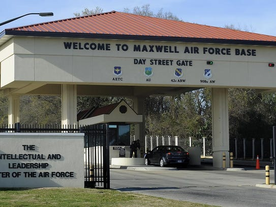 The Day Street Gate at Maxwell Air Force Base. Maxwell