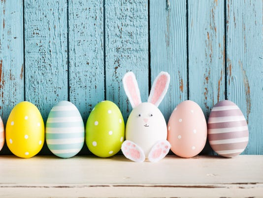 Funny Easter Egg Rabbit on Shelf
