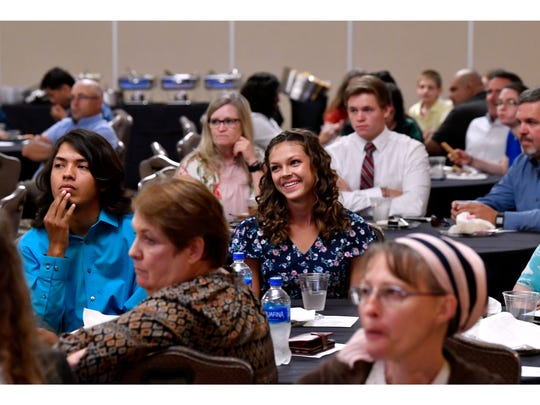 Students and their guests listen to Katie Alford speak during the Star Student Awards banquet at Abilene Christian University June 19, 2018.